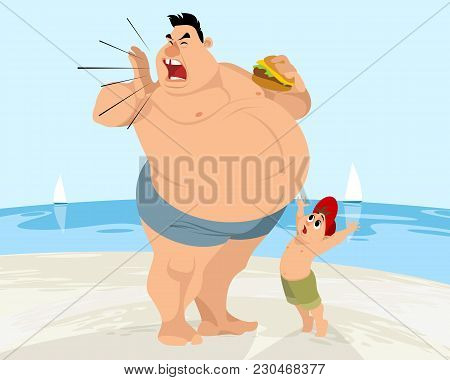 Vector Illustration Of A Funny Situation On The Beach