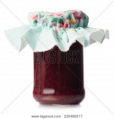 Raspberry Jam In A Jar On White Background Isolation