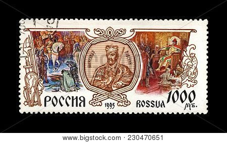 Moscow, Russia - Circa 1995: Canceled Stamp Printed In Russia Shows Prince Alexander Nevsky With Swo