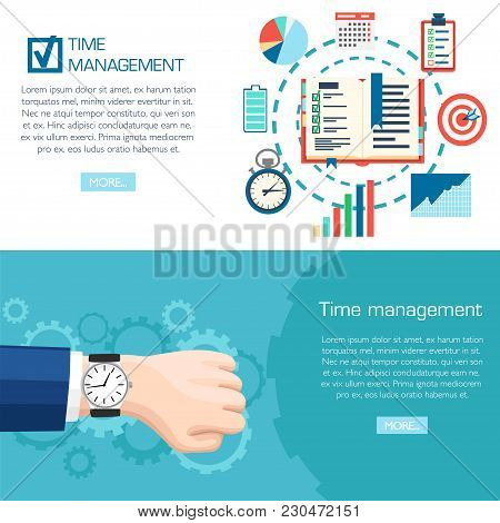 Time Management Planning Concept. Wrist Watch On Hand. Planning, Time Organization Of Business. Vect
