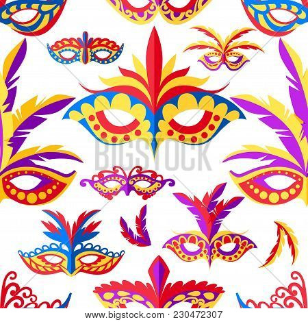 Seamless Pattern Of Carnival Face Masks. Masks For Party Decoration Or Masquerade. Colored Mask With
