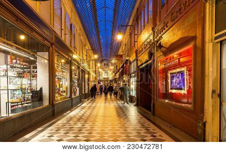 Paris, France-march 07, 2018 : The Passage Jouffroy Was Built In 1836, It Has Been One Of The Most V