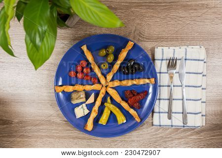 Top View Mediterranean Antipasti Plate With Two Kinds Of Green Black Olives Fresh Dried Tomatoes Che