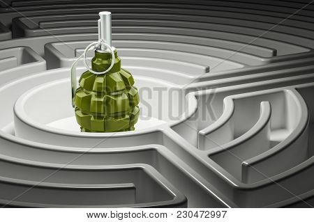 Grenade Inside Labyrinth Maze. Military Threat Concept, 3d Rendering