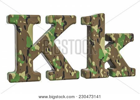 Camouflage Army Letter K, 3d Rendering Isolated On White Background