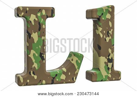 Camouflage Army Letter L, 3d Rendering Isolated On White Background
