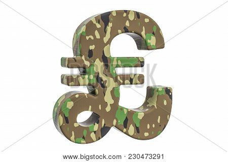 Camouflage Army Pound Sterling Symbol, 3d Rendering Isolated On White Background