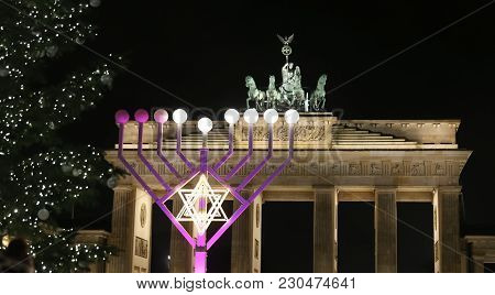 Menorah And Christmas Tree In Front Of Brandenburg Gate, Pariser Platz, Berlin, Germany