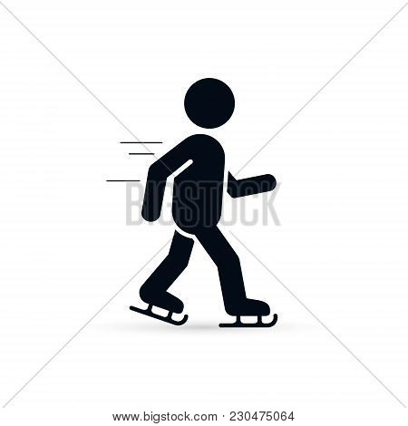 Skater Icon, Skating Man Silhouette Icon. Winter Sport Ice Skating Vector Illustration.