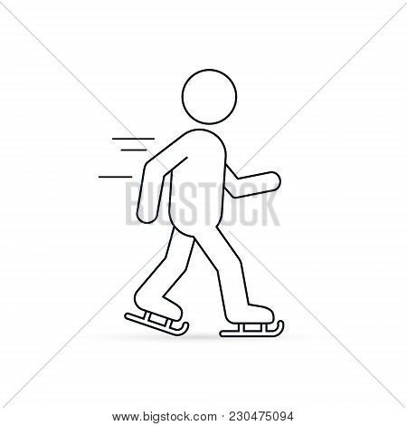 Skater Line Icon, Skating Man Outline Silhouette Icon. Winter Sport Ice Skating Vector Illustration.