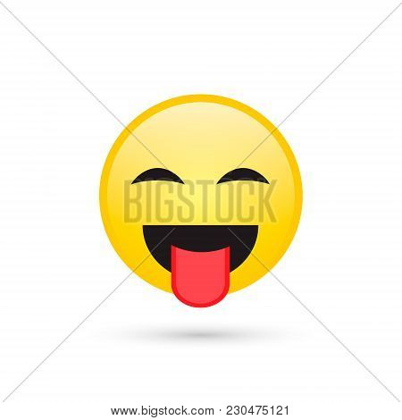 Smile Emoticon Isolated On White Background, Smiling Face With Stuck-out Tongue, Vector Illustration