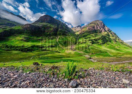 Green Mountains In Glencoe At Sunrise, Scotland