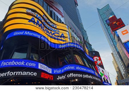 New York City, Usa, September 11, 2017 :  Times Square Is A Major Commercial Intersection, Tourist D