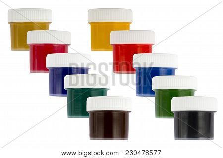 Ten Colors Of Paint In Transparent Jars In Two Rows Of Different Colors