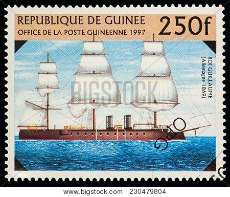 Moscow, Russia - March10, 2018: A Stamp Printed In Guinea Shows German Battleship