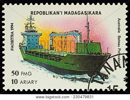 Moscow, Russia - March 11, 2018: A Stamp Printed In Madagascar Shows Australian Cargo Ship, Series