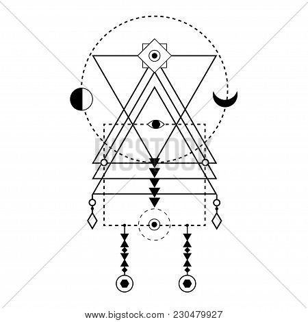 Sacred Geometry Forms. Magical Totem. Alchemy, Religion, Philosophy, Hipster Elements And Logo. Bohe