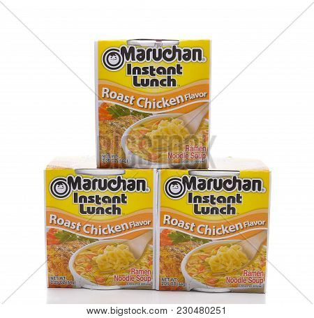 Irvine, California - March 10,  2018: Maruchan Instant Lunch Roast Chicken Flavor, Maruchan Began Ma