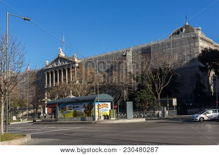 Madrid, Spain - January 21, 2018: National Archaeological Museum And National Library In City Of Mad