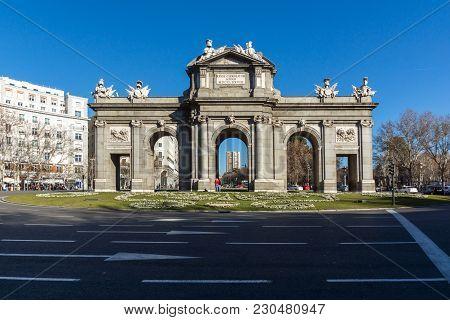 Madrid, Spain - January 21, 2018: Puerta De Alcala In City Of Madrid, Spain