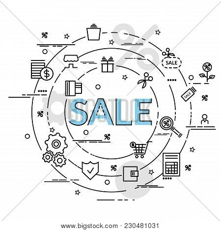 Flat Colorful Design Concept For Sale. Infographic Idea Of Making Creative Products. Template For We