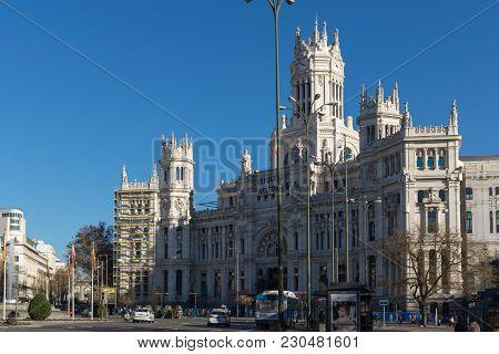 Madrid, Spain - January 21, 2018: Palace Of Cibeles At Cibeles Square In City Of Madrid, Spain