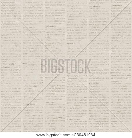 Old Blur Grunge Unreadable Vintage Newspaper Paper Texture Square Background. Blurred Vintage Newspa