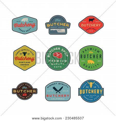 Set Of Vintage Butchery Logos. Retro Styled Meat Shop Emblems, Badges, Design Elements, Logotype Tem
