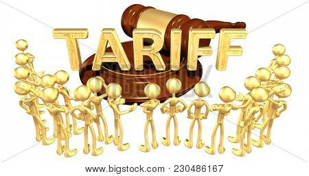 Tariff Concept 3D Illustration With A Group