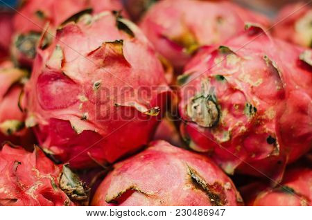Exotic Tropical Fruit, Dragon Fruit Display For Sell In Market.selective Focus Shot. Image May Conta