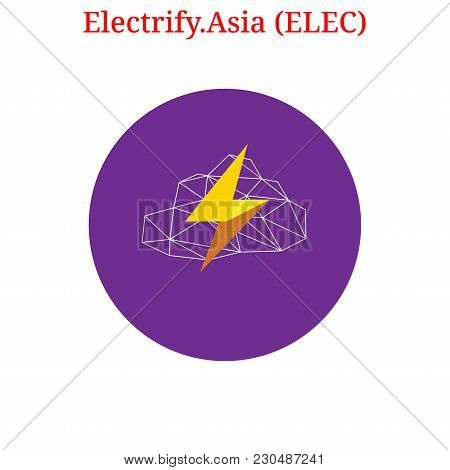 Vector Electrify.asia (elec) Digital Cryptocurrency Logo. Electrify.asia (elec) Icon. Vector Illustr