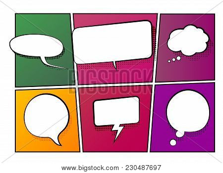 Vector Illustration Of Speech And Thinking Bubbles On A Comic Book Background. Halftone Effect With