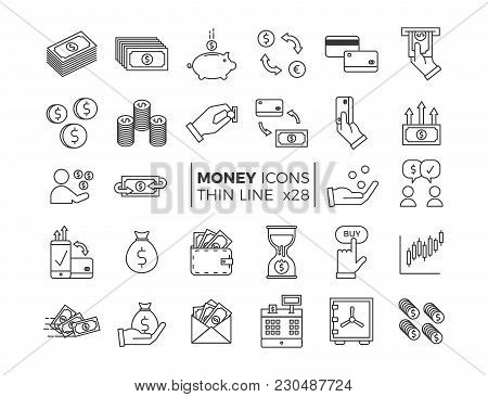 Money And Finance Icons. Vector Thin Line Pictograms Of Different Economy Subjects - Savings, Salary