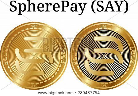 Set Of Physical Golden Coin Spherepay (say), Digital Cryptocurrency. Spherepay (say) Icon Set. Vecto