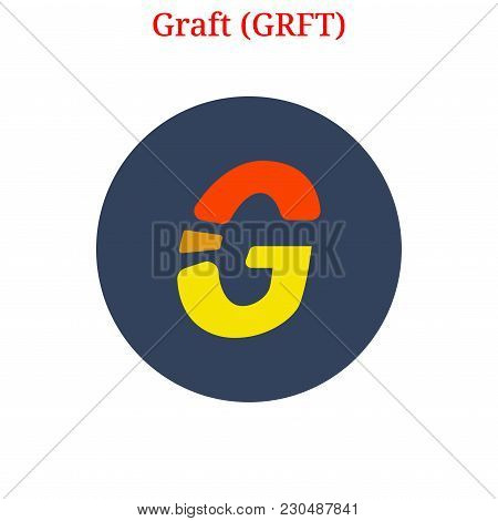 Vector Graft (grft) Digital Cryptocurrency Logo. Graft (grft) Icon. Vector Illustration Isolated On