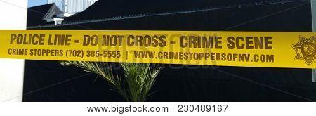 Police Line - Crime Scene - Do Not Cross Photo - Las Vegas Nevada - October 20, 2017