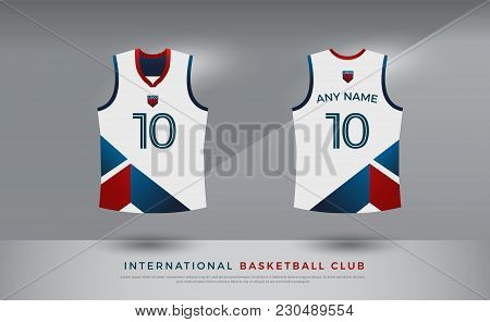 Basketball T-shirt Design Uniform Set Of  Kit. Volleyball Jersey Template. Blue Red And White Color,