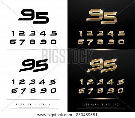 Technology Number Alphabet Golden Metallic And Effect Designs For Logo, Poster, Invitation. Exclusiv