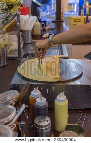 Crepe At Thai Street Dessert Food Market