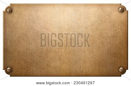 old copper or bronze metal plate with rivets 3d illustration