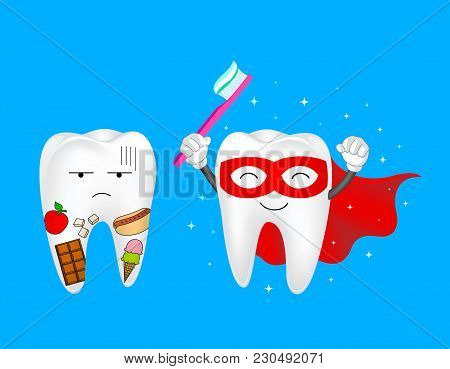 Funny Cartoon Tooth Holding Toothbrush. Tooth With Food And Super Tooth Character, Dental Care Conce
