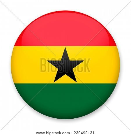 Flag of Ghana in the form of a round button with a light glare and a shadow.