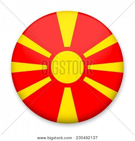 Flag of Macedonia in the form of a round button with a light glare and a shadow.