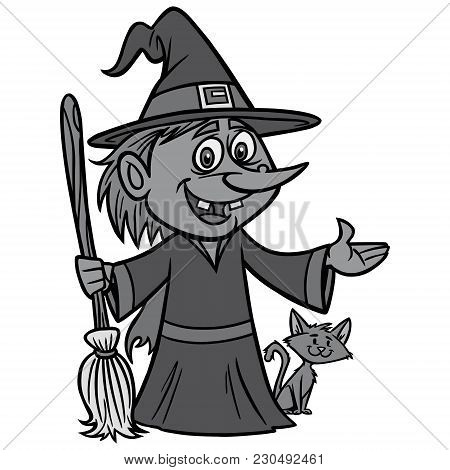 Witch With Broom Illustration - A Vector Cartoon Illustration Of A Witch With Broom.