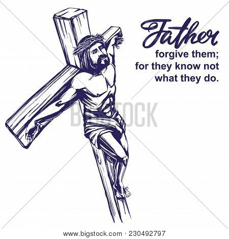 Jesus Christ, The Son Of God, Crucified On A Wooden Cross, Symbol Of Christianity Hand Drawn Vector