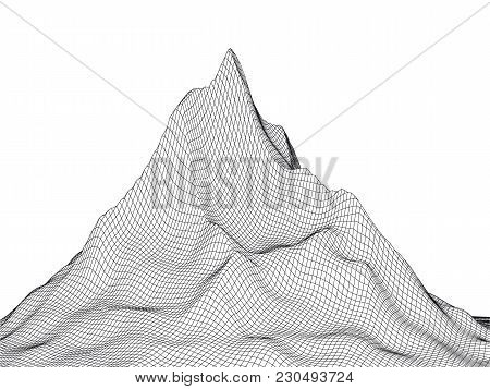 Abstract Landscape High Peak Background. 3d Terrain Grid Isolated.