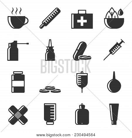 Set Of Icons Of Treatment Of Diseases By Various Methods And Means. Vector, White Background.