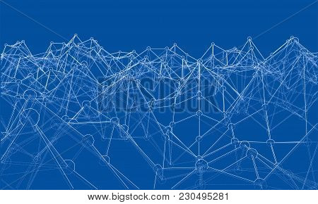 Creative Social Network. Abstract Polygonal Background. Vector Rendering Of 3d. Wire-frame Style