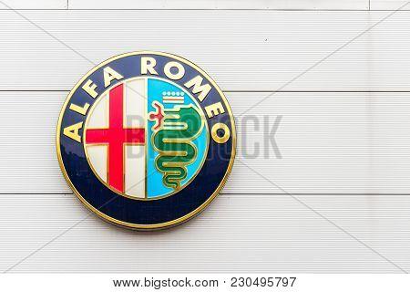 Northampton Uk February 03 2018: Alfa Romeo Logo Sign Stand In Northampton Town Centre.