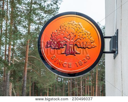 Visaginas, Lithuania - 12 February 2018: Day Winter View Shot Swedbank Logo.